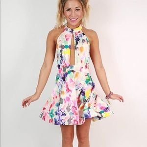 Day Dream Divine Watercolor Halter Dress • Rainbow